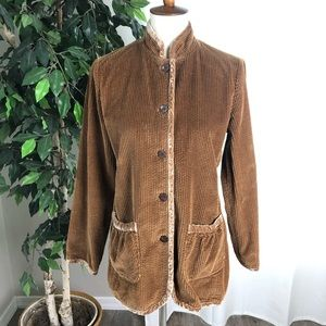 J. Jill XS Jacket Brown Tan Corduroy Blazer Top B
